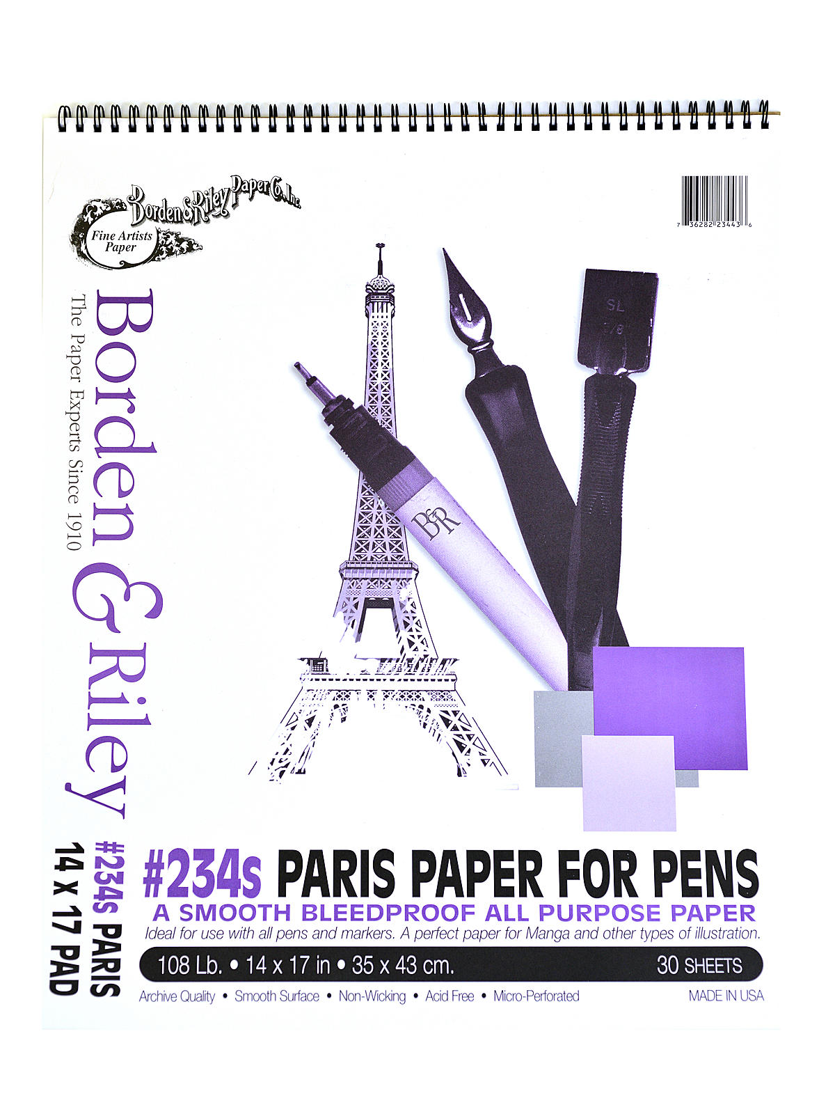 #234 Paris Bleedproof Pads 14 in. x 17 in. 30 sheets spiral bound